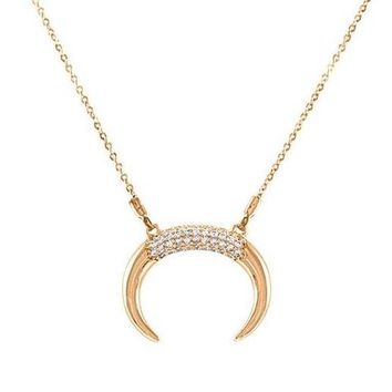 Layce CZ Horn Rose Goldtone Pendant Necklace