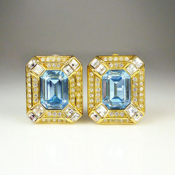 Vintage Earrings Christian Dior Sapphire Blue Glass Crystal Designer Jewelry