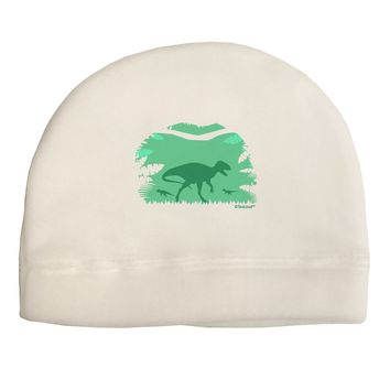 Dinosaur Silhouettes - Jungle Adult Fleece Beanie Cap Hat by TooLoud