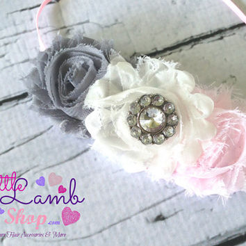 Grey Pink Shabby Chic Baby Headband, Newborn Headbands, Infant Hair Band, flower girl Headband, Baby Hair Band photography props Canada