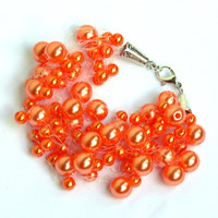 Orange Bracelet. Wedding Bracelet. Bridesmaid Bracelet. Beadwork