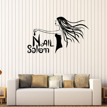 Vinyl Wall Decal Nail Salon Woman Manicure Spa Beauty Stickers Mural Unique Gift (576ig)
