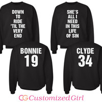Bonnie and Clyde Matching Couples Partners in Crime Sweatshirts