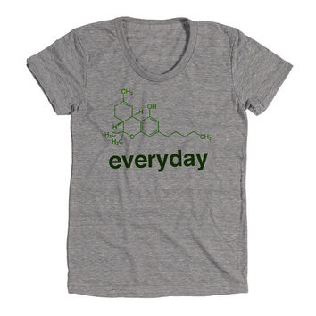 Weed Science THC Womens Athletic Grey T Shirt - Graphic Tee - Clothing - Gift