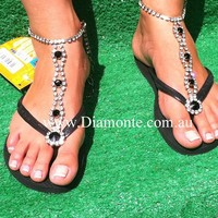 Black Havaianas Thongs or Flip Flops Featuring Black And Clear Swarovski Ankle Bracelet