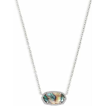 Kendra Scott: Elisa Silver Pendant Necklace In Abalone Shell