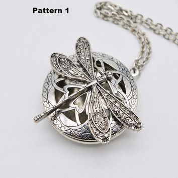 Dragonfly Aromatherapy Diffuser Locket Pendant Necklace Jewelry
