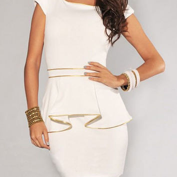 Scoop Neck Cap Sleeve Peplum Mini Dress