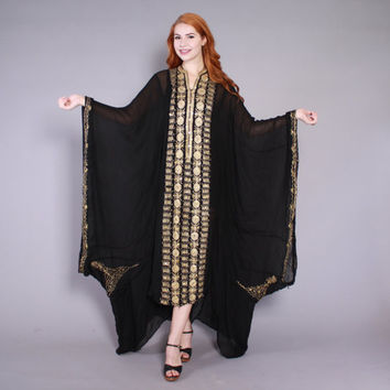 70s Silk CAFTAN DRESS / 1970s Ethnic METALLIC Gold Sequin Embroidered Sheer Statement Maxi