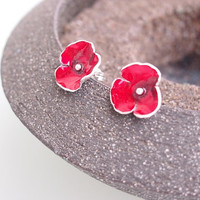 Red silver stud earrings, hammered stud earrings, small stud earrings, flower earrings, contemporary jewelry