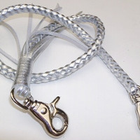 handmade woven leather key lanyard silver 20 inch