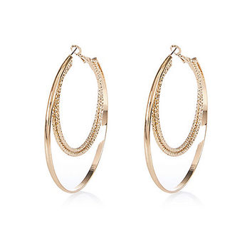 River Island Womens Gold tone textured two row hoop earrings