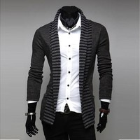 new fashion stripe men leisure long-sleeved knitted cardigan( Wish size :S/M/L) [9210698627]