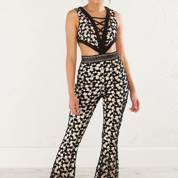 Lace Jumpsuit in Black and White