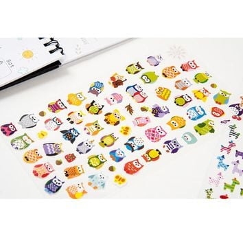 Owl Giraffe Print Toys Sticker Cute Drawing Market Diary Transparent Scrapbooking Calendar Album Deco Sticker 1 Sheet CTZ08