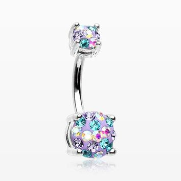 Motley Multi-Gem Sprinkle Sparkle Prong Set Belly Button Ring