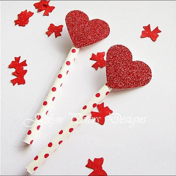 Cupcake Toppers, Red Glitter Hearts, Valentine's Day Party, Wedding Dessert Table, Bridal Shower Supply, Cake Decoration, Set Of 12
