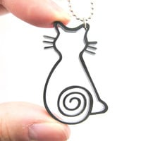 Kitty Cat Outline Shaped Animal Themed Pendant Necklace in Black Acrylic