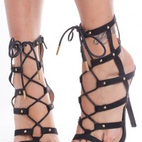 BLACK FAUX SUEDE STRAPPY CUT OUT LACE UP OPEN TOE SINGLE SOLE ANKLE HIGH HEELS