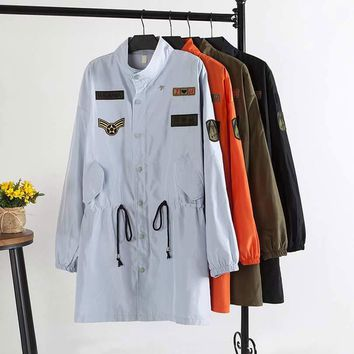F4 Autumn Casual Women Trench coat Plus Size Woman Clothes Long Sleeve Drawstring waist Loose Tops Fashion applique Outerwear
