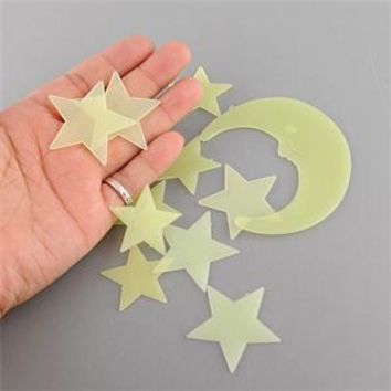 Novelty Hot Luminous Moon Stars Wall Sticker Kid Decal Fluorescent Noctilucent Three-dimensional Wall Stickers Glow In The Dark