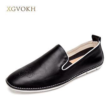 New Men Casual Shoes Genuine Leather Fashion Good Comfortable Boat Shoes Cowhide Driving Moccasins Slip On Men Flats