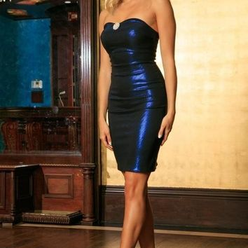 Navy Blue Metallic Strapless Dress