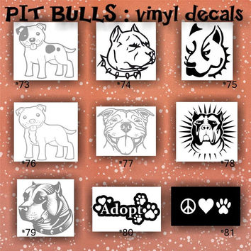 PIT BULLS vinyl decals - 73-81 - custom car window stickers - personalized vinyl decals