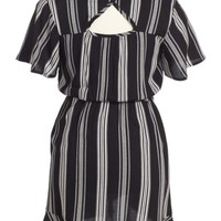Zoe and Rose Stripe Flutter Sleeve Dress (Big Girls) | Nordstrom