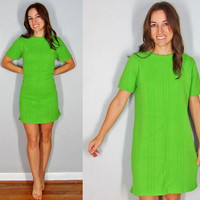 Vintage 1960s Sweater Dress, Retro Mini Dress, Lime Green Body Con Dress, Fall Dress, Winter Dress, Small Medium Large