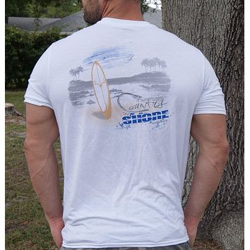 Country Shore Beach White Soft Performance T-Shirt