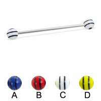 Long barbell (industrial barbell) with double striped balls, 14 ga