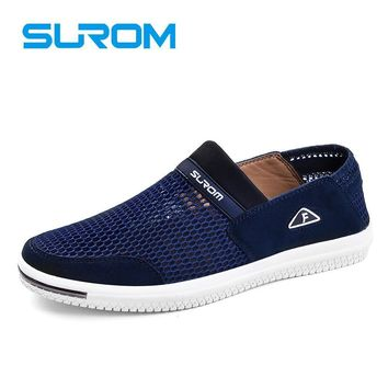 SUROM Fashion Summer Shoes Breathable Mesh Men's Casual Shoes Luxury Brand Moccasins M
