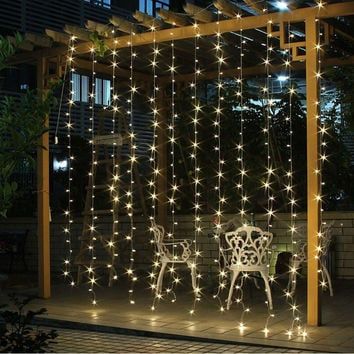 Free Shipping 3Mx3M 300LED Curtain Icicle led String Lights Christmas New Year Wedding Party decorative outdoor Lights 220V EU