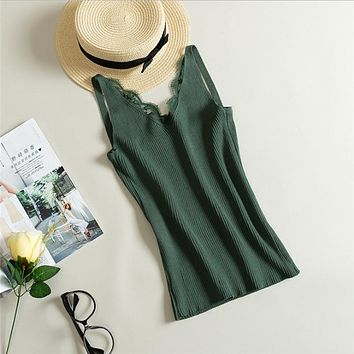 Sexy women fashion knitting Lace vest sleeveless top with V-neck blouse tops casual