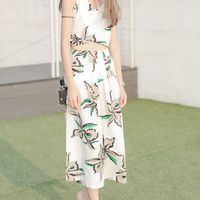 White Strappy Floral Wrap Front Cropped Top And Palazzo Pants Set
