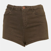 Topshop Moto 'Suri' Denim Hot Pants (Olive) | Nordstrom