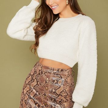 Boucle Knit Pullover Crop Sweater