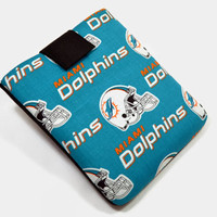 Hand Crafted Tablet Case From Licensed NFL Miami Dolphins Football Team Fabric /Case for: iPadmini,Kindlefire hd7, Google Nexus,Nook HD