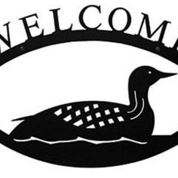 Wrought Iron Large Loon Welcome Home Sign Large