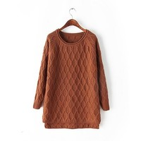 Omine Women's Diamond Cable High Low Loose Big Long Sweater Jumper One Size Coffee