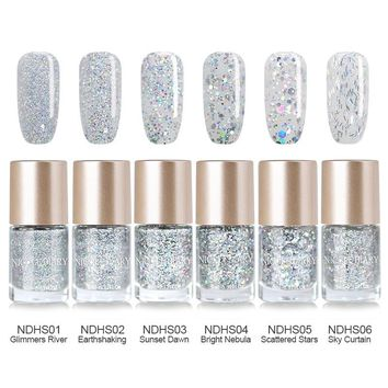 NICOLE DIARY 9ml Oil Based Holographic Silver Holo Glitter Nail Polish Varnish 6 Colors Nail Art Lacquer 1 Bottle