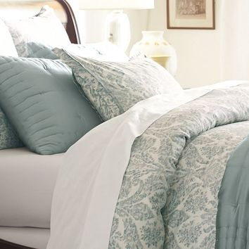 Samantha Damask Duvet Cover & Sham - Blue