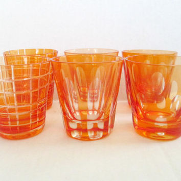 Modern Cut Glass Shot Glasses / MCM Red Orange Cordial Glass Set of 6