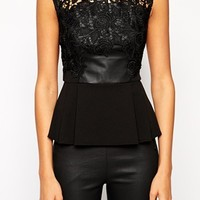 Michelle Keegan Loves Lipsy PU Front Peplum Top with Lace Trim at asos.com
