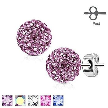 Pair of 316L Surgical Steel WildKlass Stud Earring with Multi Crystal Ferido Ball