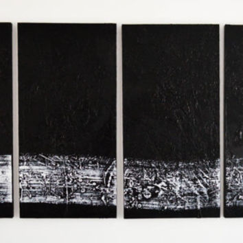 Armageddon- a large black and white original abstract acrylic painting by FQ Studios, modern art, urban art, black and white, large art