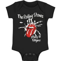 Rolling Stones Boys' Sticky Little Fingers Romper Bodysuit Black Rockabilia