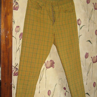 vintage 1940-1950 mens BIG  Smith CARPRA Hippie Madmen  plaid  PANTS  trousers sz 34-30