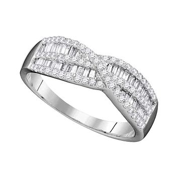 10k White Gold Women's Round Baguette Diamond Crossover Ring - FREE Shipping (US/CA)